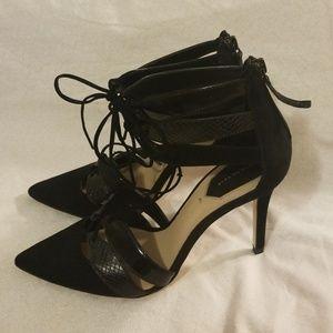 Zara Women Snakeskin Embossed Suede Black Pumps